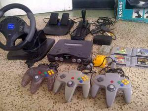 Nintendo 64 Volante Y Pedales, 3 Controles, 4 Juegos