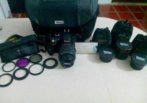 Camara Nikon D Lente mm Filtros Como Nueva