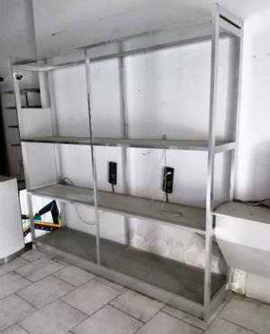 Estante Exhibidor De Aluminio Y Vidrio Abierto