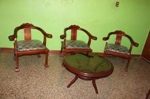 Juego De Muebles En Madera Para Sala (patas De Leon)