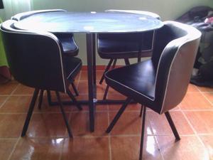 Mesa De Comedor De Vidrio Con 4 Sillas