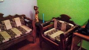 Muebles De Madera Rustico Magdaleno Usado C/cojines - Recibo