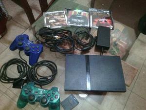 Play Station 2 Con Accesorios, Memoria, Bolso Y 3 Juegos