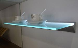 Repisas Aéreas De Vidrio Y Aluminio Con Luz Led 60cms