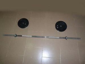 Barra Para Pesas Con Discos De Goma Forte 5 Kg C/u