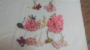 Flores, Rosas Rococo para Lazos, Cintillos, Apliques,