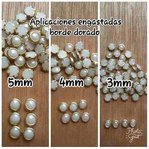 Perlas Engastadas Con Borde Dorado Paquetes De 50 Y 60 Pzas