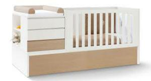 Se vende cama cuna de madera blanca con gaveteros posot class for Cama individual blanca