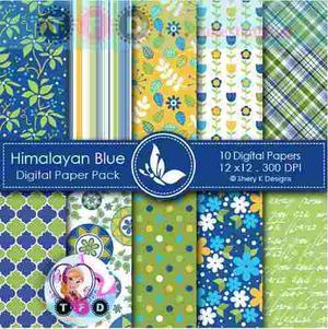 Kit Imprimible Fondos Himalaya Azul Verde Flores
