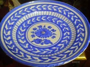 Plato De Porcelana Marca Anfora Mexico Color Azul Cobalto