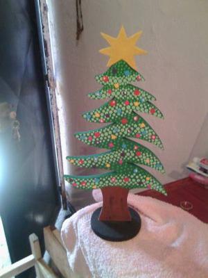 Árbol De Navidad En Mdf Tecnica Puntillismo