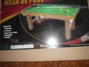 Mesa De Pool Jeidy Toys Con Bolas, Tacos, Triángulo Y Tiza.