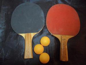 Raquetas D Pin Pon Tenis De Mesa 3 Pelotas Una Es Tamanaco