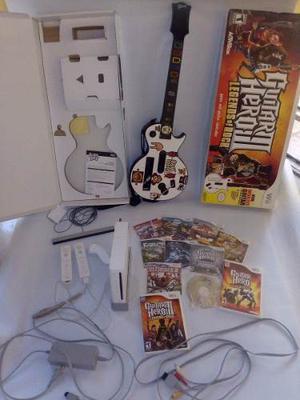 Nintendo Wii Con 2 Controles Y Guitarra
