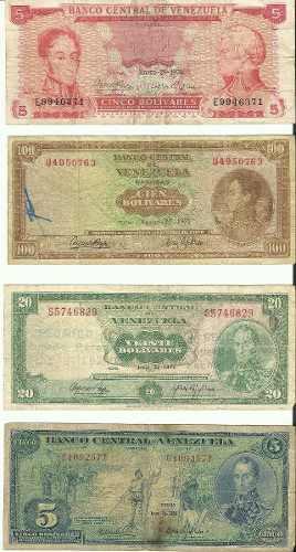 4 Billetes Venezolanos De Colección, Dieguito, 20bs. 100bs.