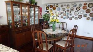 Comedor 6 Puestos De Caoba Y Vidrio Biselado-vitrina Y Ceibo