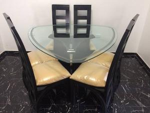 Juego De Comedor Forma Diamante 6 Puestos Mesa De Vidrio