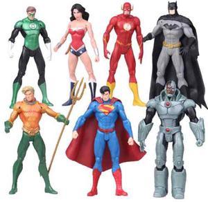 Set 7 Figuras La Liga De La Justicia Batman Superman Dc 17cm