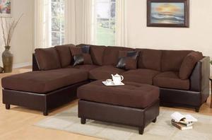 Sofa Modular En Semicuero Y Bipiel