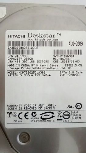 Disco Duro Sata De 250 Gb, Marca Hitachi