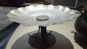 Extraordinario Centro De Mesa Martillado Silver Plated Antig