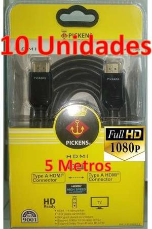 Cable Hdmi Pickens 5 Metros p 10gbps Combo 10 Unidades