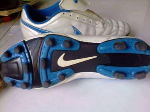 Tacos Nike Tiempo Blanco Con Azul Muy Poco Uso
