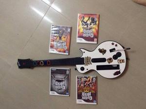 4 Juegos De Nintendo Wii De Guitar Hero, Mas Su Guitarra.