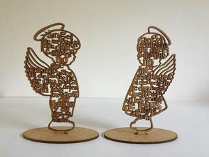 Angel De La Guarda Modelo Niño Y Niña En Mdf 3mm Crudo