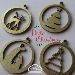 Apliques Y Adornos De Navidad En Mdf 6 Unidades Variadas
