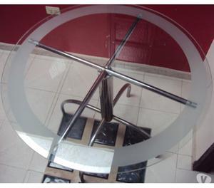 Mesa De Comedor 4 Puestos Vidrio Biselado Y Base De Hierro