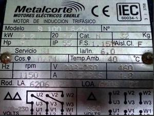 Motor De Inducción Trifasico Metalcorte 3 Hp Nuevo