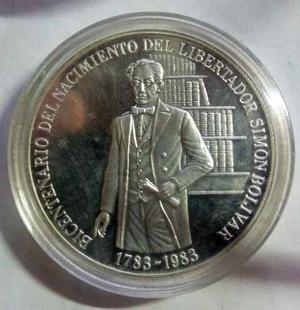 Moneda De Plata 100 Bs. Bicentenario De Nacimiento Del Liber