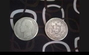 Moneda De Plata Lei 900 Estados Unidos De Venezuela