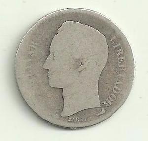 Moneda De Plata Ley 835 Un Bolivar. De  Escaso