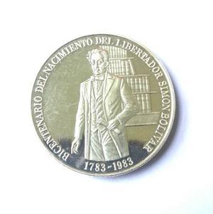Moneda De Plata.bicentenario Nacimiento Del Libertador.