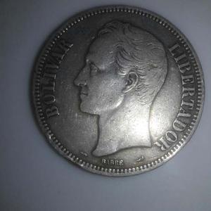 Moneda De Un Fuerte De Plata De 5 Bolivares De