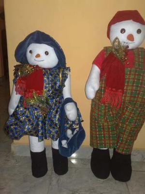 Hermosa Pareja Muñecos De Nieve