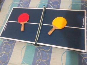 Mini Mesa De Ping Pong Plegable (2 Raquetas Sin Pelota)