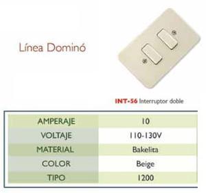 Interruptor Doble De Empotrar, 10 Amp,, v Mod-