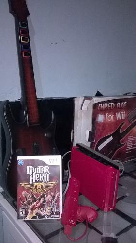 Nintendo Wii + Guitarra + Juego Original De Aerosmith