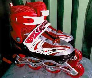 Patines Lineales De Regalo + Kit De Proteccion (rojos)