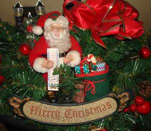 Adorno De Navidad Santa Claus En Arreglo Corona Guirnalda