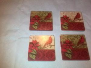 Hermosos Porta Vasos De Navidad (set De 4 Unidades) Corcho