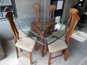 Juego de comedor 6 silla y mesa para jardines posot class for Juego de comedor con mesa de vidrio
