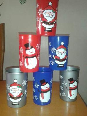 Navidad. Set De 2 Vasos Plasticos. #santa #snowman