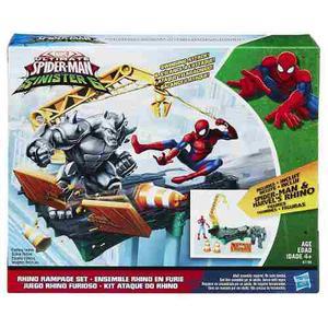 Spiderman& Rhino Al Ataque Original De Hasbro