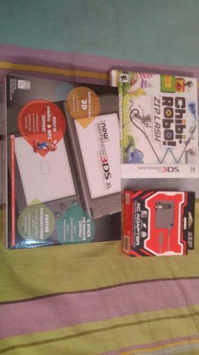New Nintendo 3ds Xl + Adaptador + Juego Nuevo Y Sellado