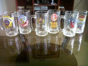Set De 6 Jarras Vasos Cerveceros Logos De Alemania Y Usa