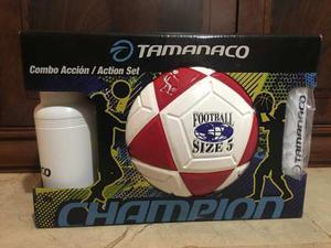 Balón De Fútbol Tamanaco N 5 Combo Accion Inflador Y Termo